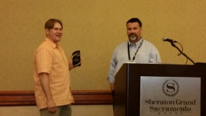 Robert Shanaberger (with Tim Jankowski of Caltrans) accepts Exemplary Systems Award